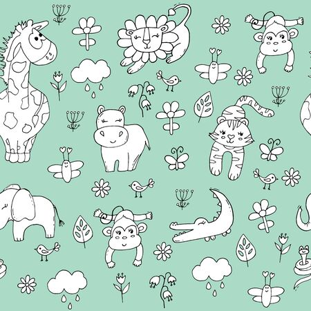 Cute seamless pattern with tropical animals on pink background. Lion, elephant, tiger, giraffe and monkey in the jungle. Illustration