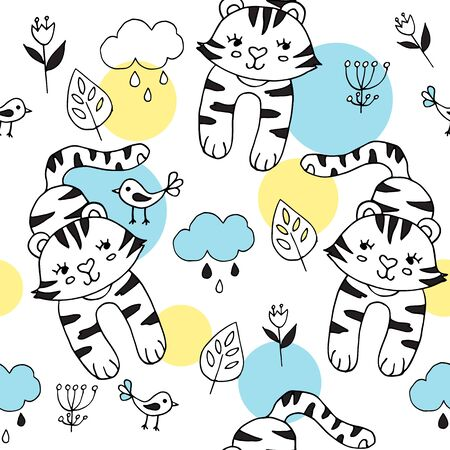 Cute seamless pattern with tropical animals on blue background. Tiger and birds in the jungle. Part of tropical set.