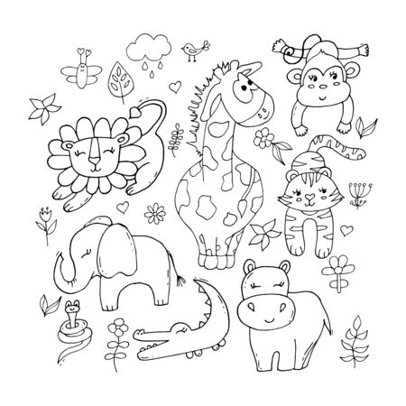 Cute tropical animals set in black and white isolated on white background. Illustrations for kids