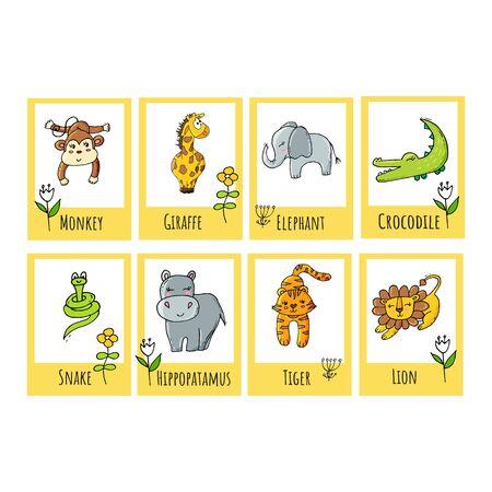 Flashcard educative tropicali per bambini carini con animali da safari. Per i bambini che imparano l'inglese o per gli studenti visivi con difficoltà di apprendimento