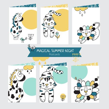 Set of Greeting cards with cute giraffe, lion and tiger on white background. Pattern for postcards, posters or book covers, wallpapers and scrapbook.