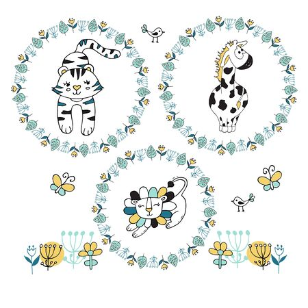 Set of florawl wreath with cute giraffe, lion and tiger on white background. Pattern for postcards, posters or book covers, wallpapers and scrapbook. Иллюстрация