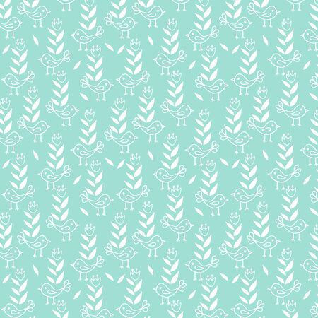 Cute seamless floral pattern with birds on blue background. Part of tropical illustration set.