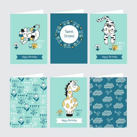 Set of Greeting cards with cute giraffe, lion and tiger. Pattern for postcards, posters or book covers, wallpapers and scrapbook. Иллюстрация
