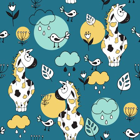 Cute seamless pattern with tropical animals on blue background. Giraffe and birds in the jungle. Part of tropical set.