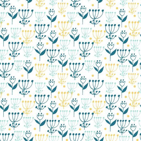 Cute seamless floral pattern on white background. Flowers and dots. Part of tropical illustration set. Иллюстрация