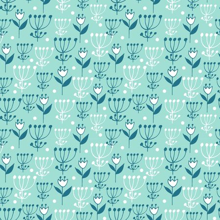 Cute seamless floral pattern on blue background. Flowers and dots. Part of tropical illustration set. Иллюстрация