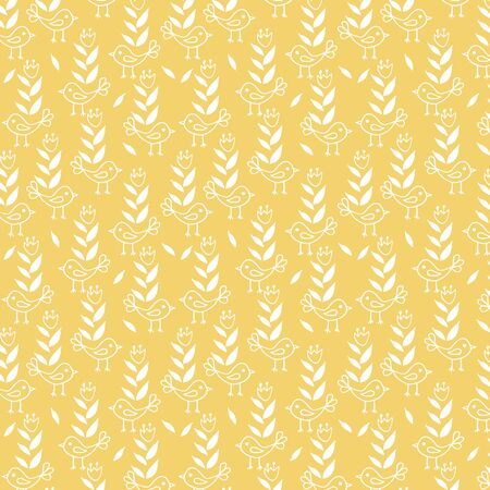 Cute seamless floral pattern with birds on yellow background. Part of tropical illustration set.