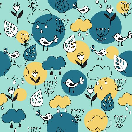 Cute seamless pattern with cartoon birds and clouds on blue background. Part of tropical illustration set.