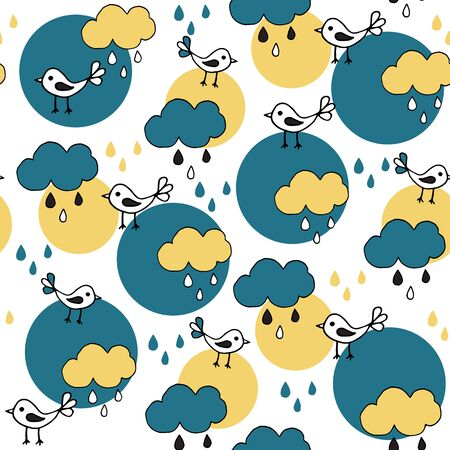 Cute seamless pattern with cartoon birds and clouds on white background. Part of tropical illustration set. Banque d'images - 131444863