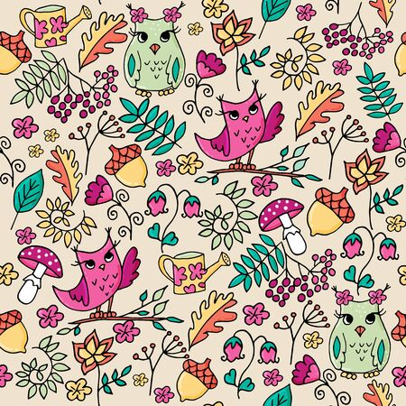 Cute autumn seamless pattern with owls. Forest pattern with rowan and flowers on beige background. Иллюстрация