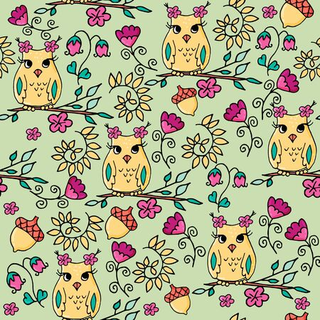 Seamless hand drawn autumn pattern with owls and flowers. Part of autumn owls set.
