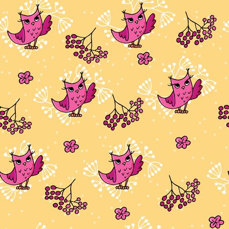 Cute autumn seamless pattern with owls and rowan. Forest pattern on yellow background.
