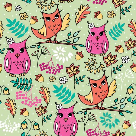 Cute autumn seamless pattern with owls. Forest pattern with rowan and flowers on light green background.