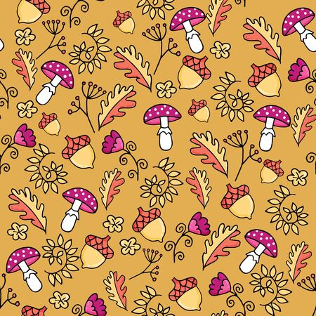 Cute autumn seamless pattern with fly-agaric mushroom, leaves and acorn. Part of autumn owl set. Иллюстрация