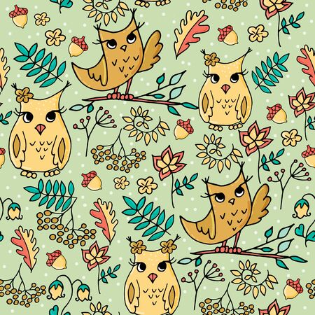 Cute autumn seamless pattern with owls. Forest pattern with rowan and flowers on light green background. Banque d'images - 131444872