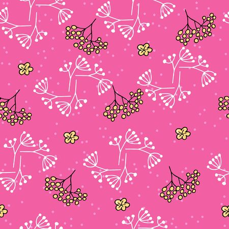 Cute seamless pattern with rowan and spots on pink background. Part of autumn set. Иллюстрация