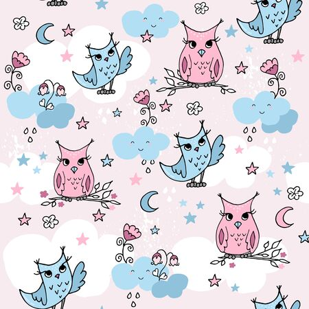 Cute seamless pattern with cartoon clouds and owls. Pastel nursery background.