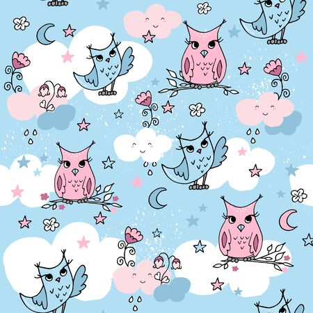 Cute seamless pattern with cartoon clouds and owls on blue background. Pastel nursery background.