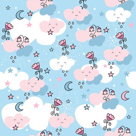 Cute seamless pattern with cartoon clouds and flowers on blue background. Pastel nursery background.