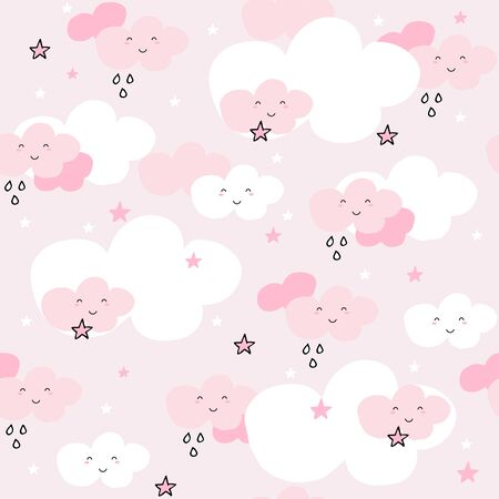 Cute seamless pattern with cartoon clouds and stars on pink background. Pastel nursery background.