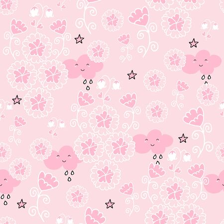 Cute seamless pattern with flowers and owls on baby pink background. Nursery decor idea. Banque d'images - 131444881