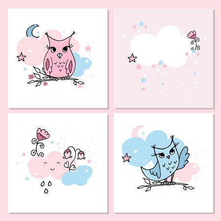 Cute pastel colors cards with owls and clouds. Nursery posters. Part of nursery set. Иллюстрация