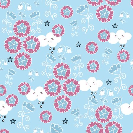 Cute seamless pattern with flowers and owls on baby blue background. Nursery decor idea. Illustration