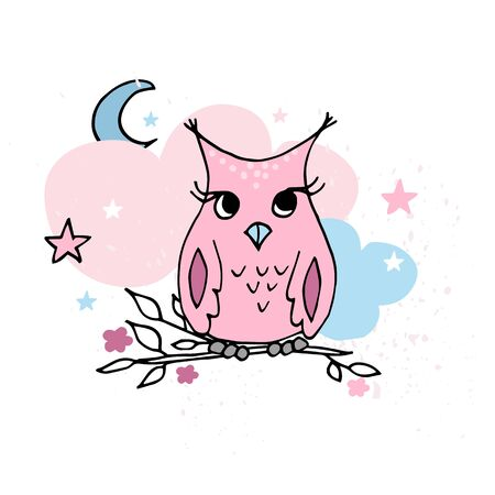Cute little owls sitting on the tree. Pastel nursery poster or card. Set of cards for nursery. Banque d'images - 131444886