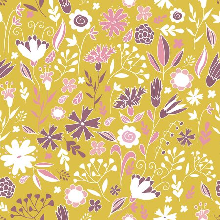 Elegant seamless pattern with flowers in pink and mustard. Floral pattern for fabric and prints. Banque d'images - 131444894