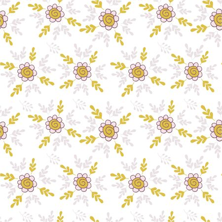 Elegant seamless pattern with flowers in pink and mustard. Floral pattern for fabric and prints. Illustration
