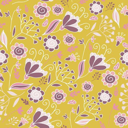 Elegant seamless pattern with flowers in pink and mustard. Floral pattern for fabric and prints. Иллюстрация