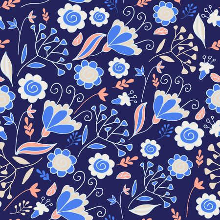 Elegant seamless pattern with flowers. Floral pattern for fabric and prints. Perfect for room decor. Banque d'images - 131444904