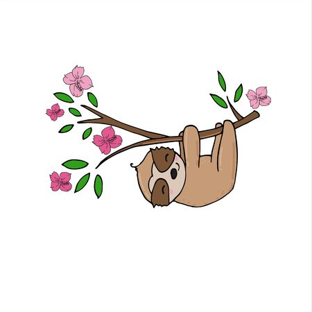 Hand drawn vector illustration of a cute funny sloth hanging from the branch. Concept for kids print.