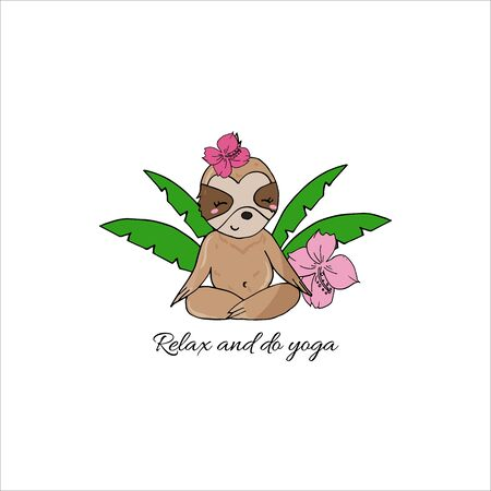 Vector cute sloth in yoga pose in the rainforest. Funny sloth meditating among tropical leaves and flowers. Adorable yoga animal illustration. Фото со стока - 131444912