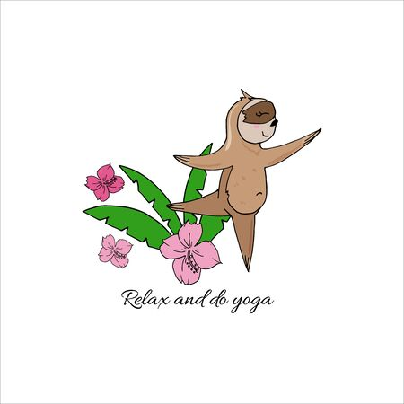 Vector cute sloth in yoga pose in the rainforest. Funny sloth meditating among tropical leaves and flowers. Adorable yoga animal illustration. Фото со стока - 131444913