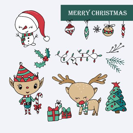 Vector illustration of cute Christmas icons with snowman, ornaments, rain deer, and elf. Isolated on white background.