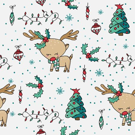 Cute seamless Christmas pattern with christmas tree, holly, ornaments and cute reindeer. Christmas decoration.