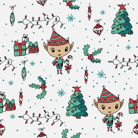Cute seamless Christmas pattern with christmas tree, holly, ornaments and cute rain deer. Christmas decoration.