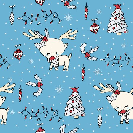 Cute seamless Christmas pattern with christmas tree, holly, ornaments and cute reindeer. Christmas decoration. Banque d'images - 131444917