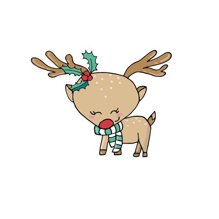 Merry Christmas greeting card template with cute reindeer on isolated white background. Hand drawn cartoon.