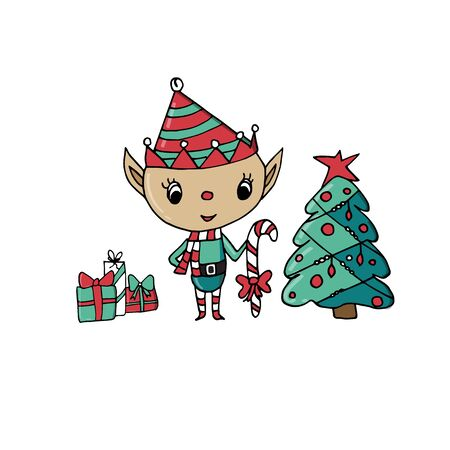 Merry Christmas greeting card template with cute christmas elf on isolated white background. Hand drawn cartoon. Иллюстрация