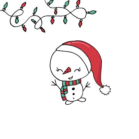 Merry Christmas greeting card template with cute snowman on isolated white background. Hand drawn cartoon.
