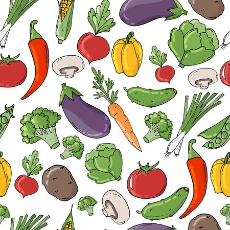 Hand drawn pattern with vegetables. Big vegetable collection. Fresh, natural and vegetarian food.
