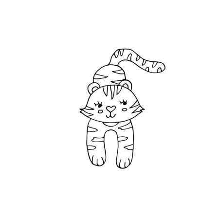 Cute black and white coloring page with tiger on isolated white background. Part of a set Иллюстрация