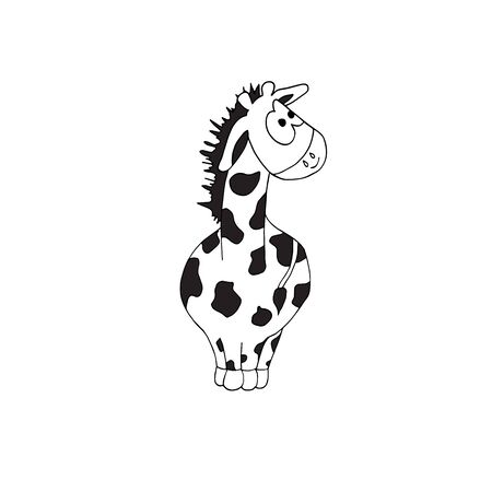 Cute black and white coloring page with giraffe on isolated white background. Part of a set Иллюстрация