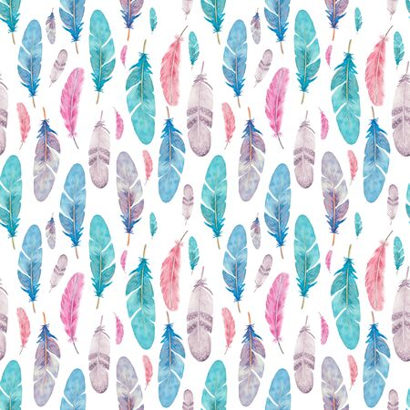 Seamless pattern with isolated watercolor feathers. Hand painted colorful feathers.
