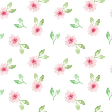 Watercolor floral pattern. Seamless pattern with pink flowers on white background. Stock Photo