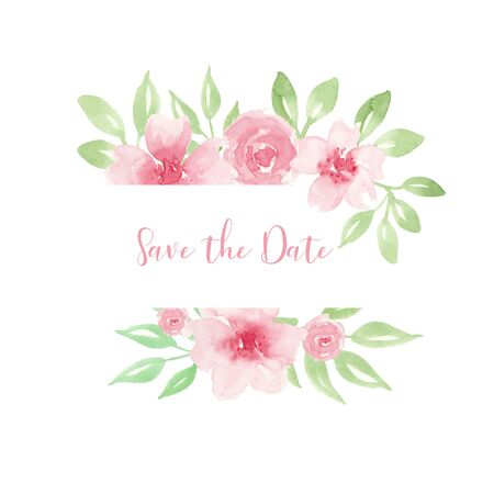 Wedding invitation, save the date card design with light watercolor pink flowers in geometrical frame Stock Photo