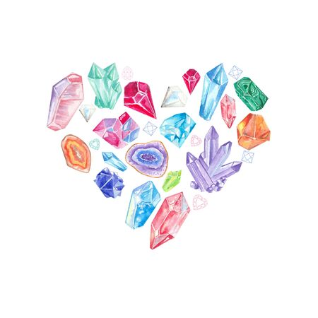 Watercolor colorful crystals and gems in shape of heart.